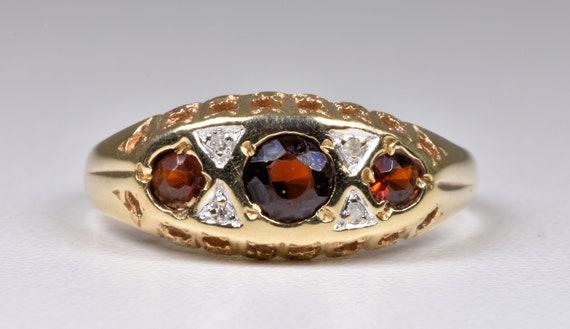 Vintage 9ct Gold Garnet & Diamond Ring, 1970's