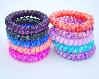 Tie-Dyed Spiral Coil Cord Hair Ties - 10 Pack 49249d16402
