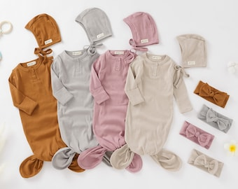Tiny Alpaca | Organic Cotton Newborn Gown Set With Matching Headband + hat | 0-6 Months | Gender Neutral | Baby Clothes | Baby Shower Gift |