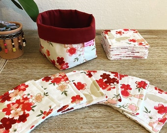 """""""Japanese garden"""" washable wipes with optional panière and/or storage pan"""