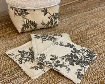 """""""Ancient Rose"""" washable wipes with panière and/or storage bag"""