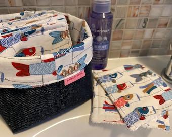 Koinobori washable wipes with optional panière and/or storage pod