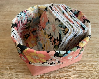 """Washable wipes """"flowery night"""" with optional storage pan"""