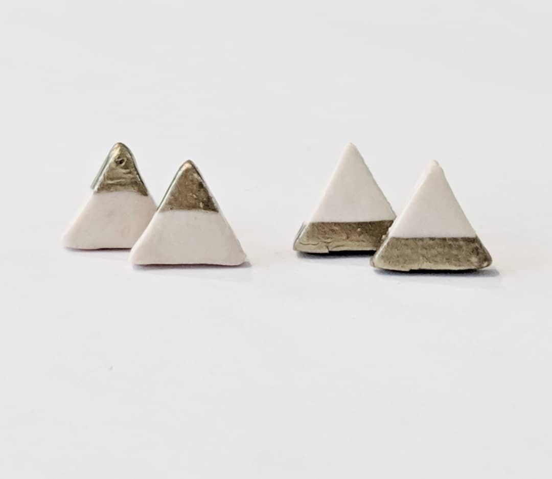Stud Earrings Minimalist White Triangle Valentine Gift Birthday Coworker Bridesmaid Gifts For Her