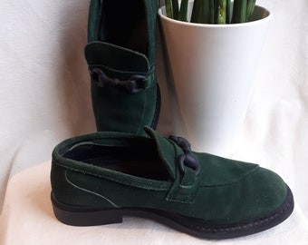 74dc2ac23380 Size 6.5 US Womens Camper Shoes Twins Green Suede Loafers   Size 37 90s  shoes   forest green