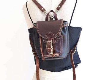 000e1368735ee1 Leather micro back pack   Roots Canada mini bag   black and brown leather  bag   made in Canada   grunge mini back pack