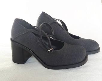 d5801cb681a6 Size 40   Grey Mary Jane Chunky Heels