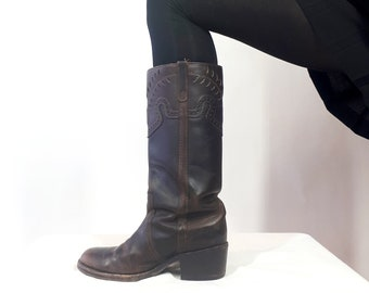 Vintage 90s Steve Madden Brown Leather Boots  High Heel Boots  Brown Ankle Boots 6 12