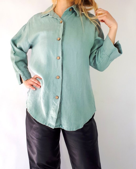 Vintage Peasant Top Blouse Floral Embroidery T-Shirt Folklore Boho Blue Green Linen Size L