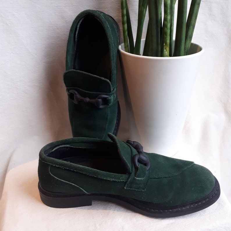 a9cec033f1e6f Size 6.5 US Womens Camper Shoes Twins Green Suede Loafers / Size 37 90s  shoes / forest green