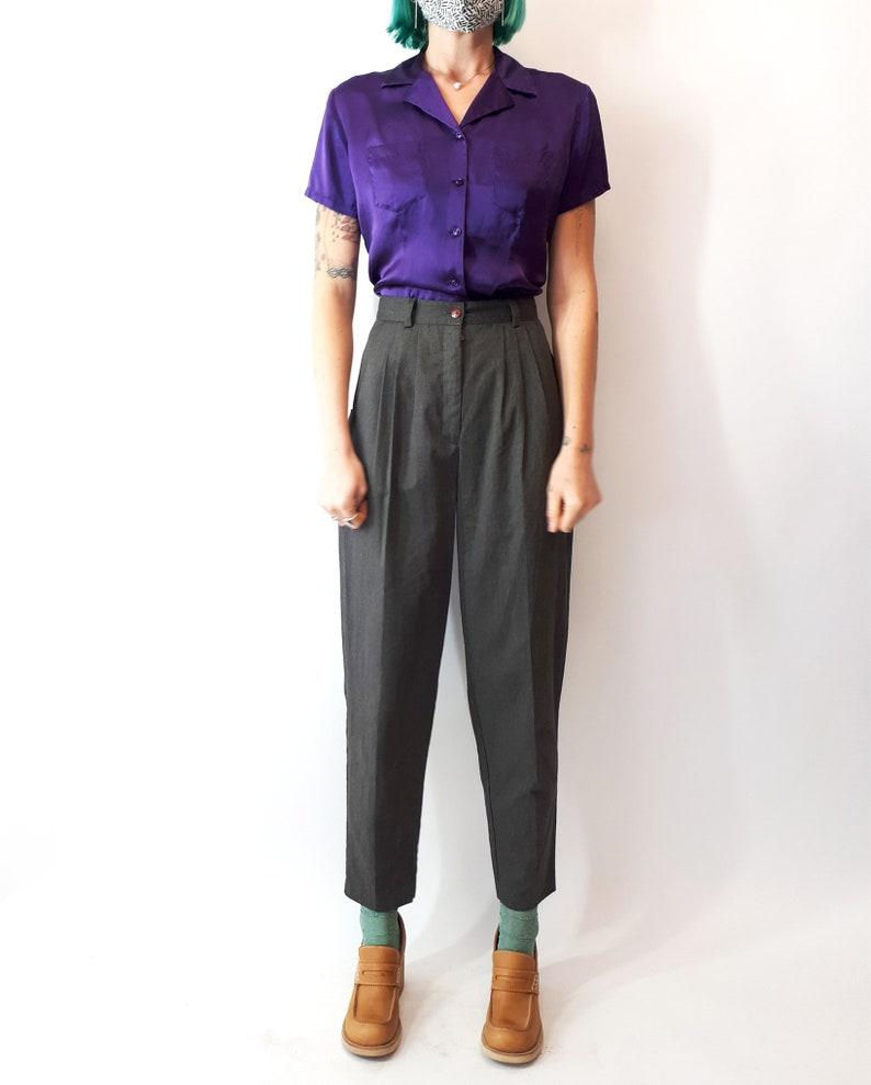 Vintage 90s Jacob Purple Silk Short Sleeve Blouse