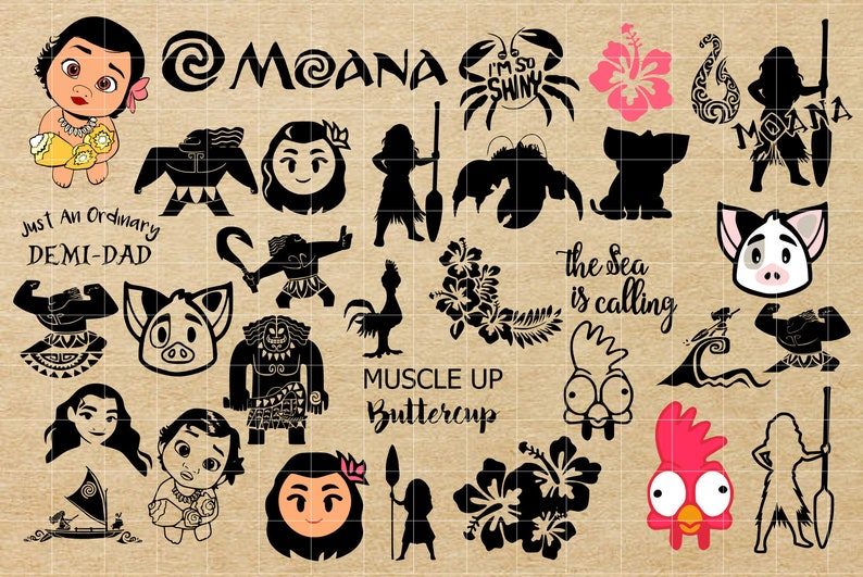 Moana SVG, Maui SVG, Disney SVG, Shiny svg, Moana cut file, Moana eps,  Moana png, Moana dxf, Maui cut files, Maui png