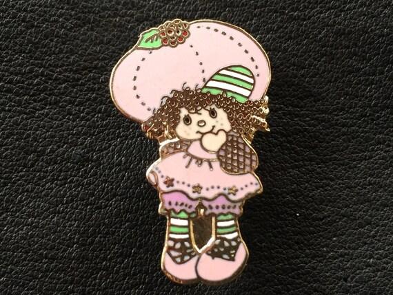 Vintage 1981 Raspberry Tart Brooch Pin~Cloisonne~A.G.C.~Strawberry Shortcake Set