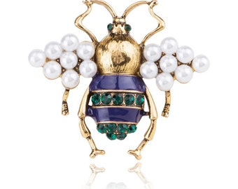 320ff97576c Bee Brooch Pin Honey Bee Brooch Pearl Brooch Pin Bee Jewelry Insect Brooch  Pin Insect Jewelry Antique Gold Bronze Brooch Pin French Jewelry
