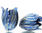 NEW COLORS Sapphire Blue Tulip Brass Bead Caps (Large) (2 pcs)