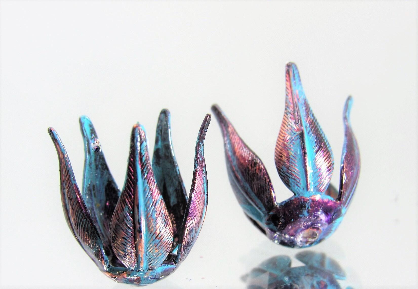 Large, x2 pcs New in Studio Vintage Bella Blue Hand Mixed Patina 5-Petal Rose Leaf Bead Caps