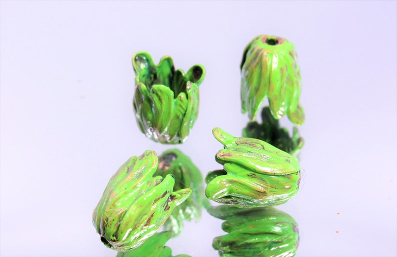 Small x2 pcs Please over Brass Tulip Bead Caps NEW IN STUDIO: Hand-Mixed Patina Tequila with Lime