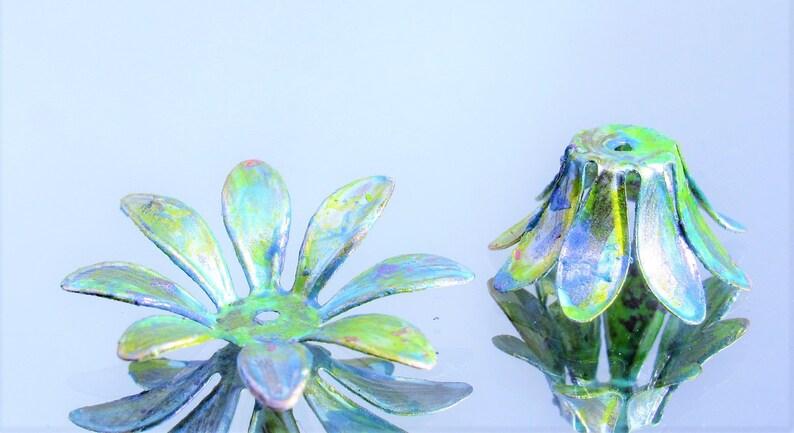 x2 pcs NEW IN STUDIO Patina  Flower Bead Caps Bendable