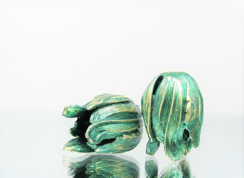 2 pc 2 pcs Summer Green Brass BeadsBead Caps