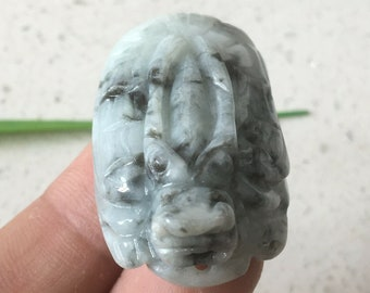 Certified Jadeite, Vintage Chinese Dragon Head Pendant, 2 Color Green Jade, Mens Dragon Turtle Necklace, 100% Natural Untreated Grade A