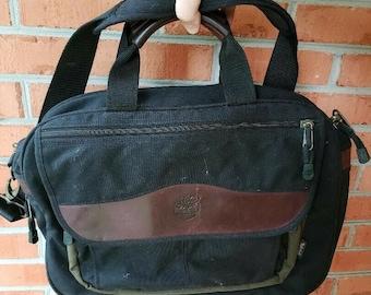 Vintage Timberland Blue Canvas and Brown Leather Messenger Bag, Shoulder Handbag, Briefcase, Business Laptop Organizer, Carry On Luggage