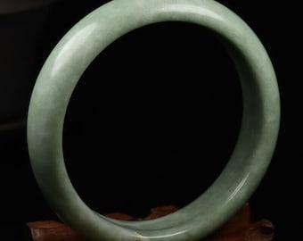 Stunning Jade Bangle Bracelet - Creamy, Marbled Green Jade, 61.3 mm, Hand Carved, All Natural Untreated Grade A Jadeite