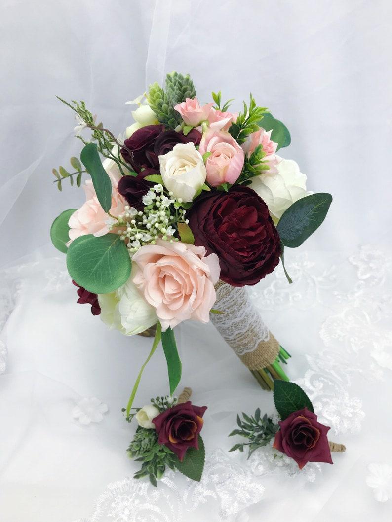 Winter Wedding Bouquets.Wedding Bouquets Bridal Bridesmaids Bouquets Winter Wedding Bouquet Burgundy Blush Pink Rose Bouquet Boho Bouquet Peonies Eucalyptus