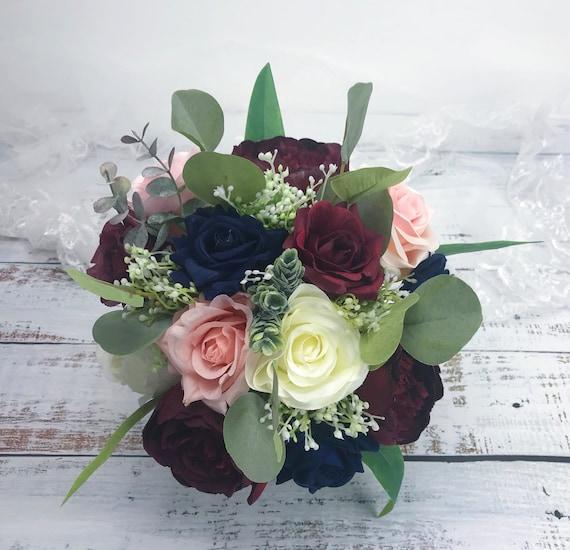 Bouquets Navy Bouquet Minibudget Wedding Bouquet in IvoryBurgundyNavy Burlap Flowers Bridesmaid Bouquet Choose Size Burlap Bouquet