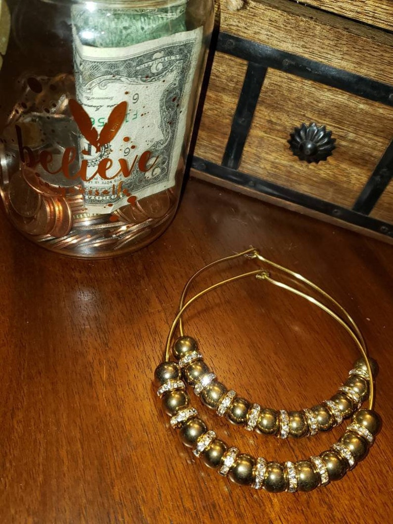 Bling Bling Gold Hoop Earrings Bridesmaid Earring Gifts Boho Dainty Earrings Gold Hematite Earrings