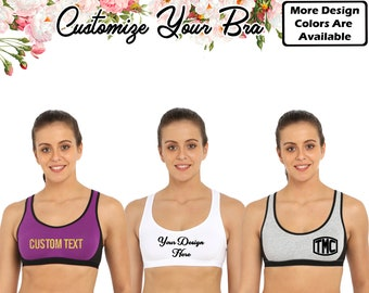 5c3aa2ac2838f Customize Sport Bra Personalized Bra Custom Sport Bra Your Text Bra Bride  Bra Bridal Crop Bra Customize Racer Back Active Bra Gift For Her