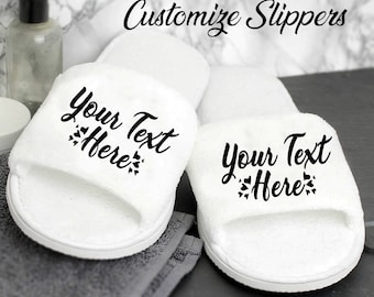 b620cd6edad Bridesmaid Slippers Personalised Wedding Slippers Customize Slipper Bride  Bridesmaid Gift Bridal Party Hen Weekend Open Toes Spa Slippers