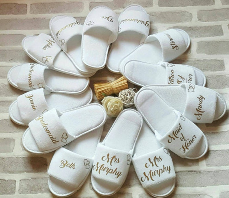 4e528158fc Bridesmaid Slippers Personalised Wedding Slippers Customize Slipper Bride  Bridesmaid Gift Bridal Party Hen Weekend Open Toes Spa Slippers