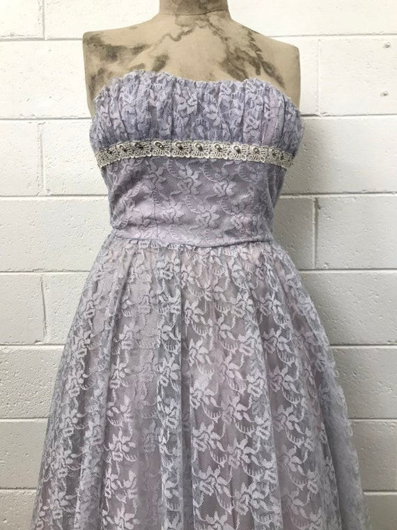 1950s Lilac Lace Prom Dress