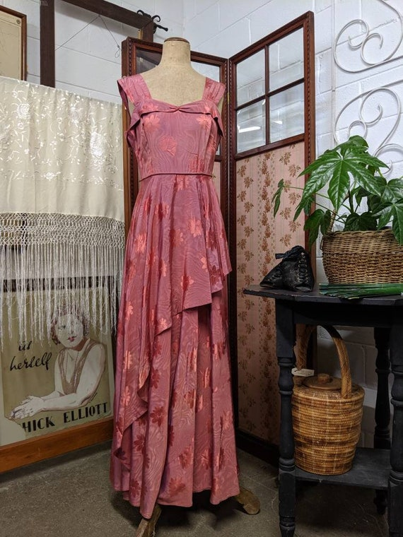 1940s Asymmetrical Evening Gown