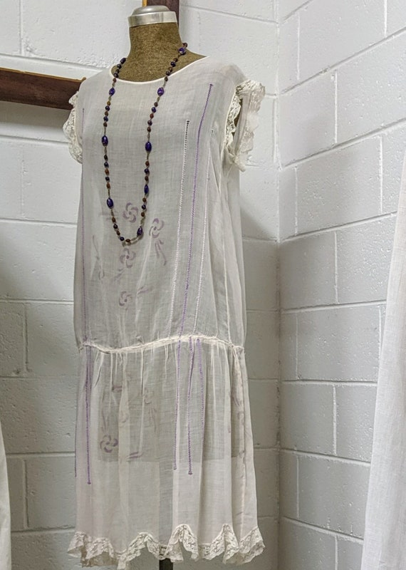 1920s Hungarian Embroidered Voile Dress