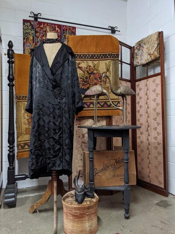 1920s Black Silk Opera Coat