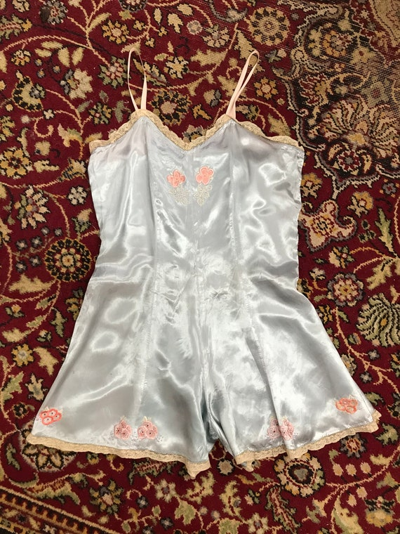 1920s Embroidered Satin Step in