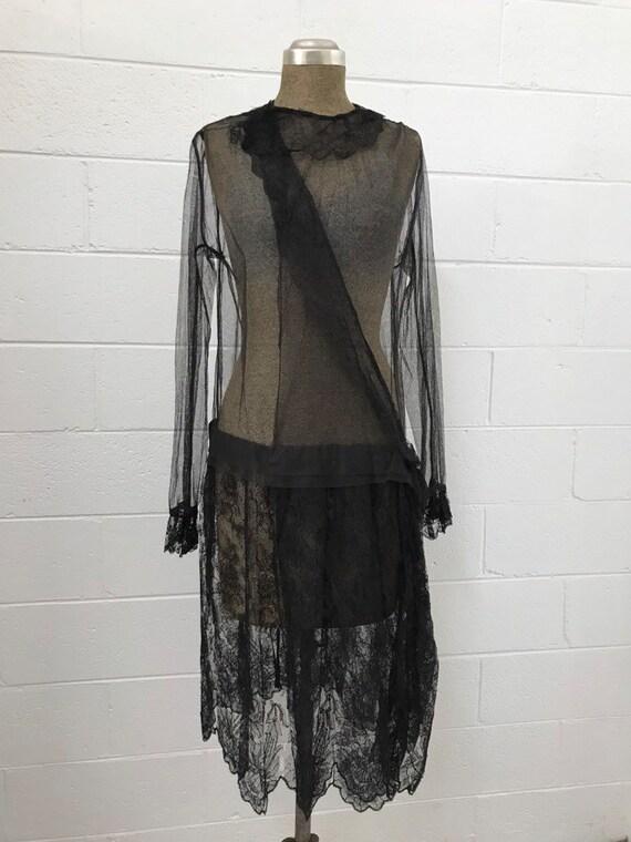 1920s Black Chnatilly Lace & Net Dress