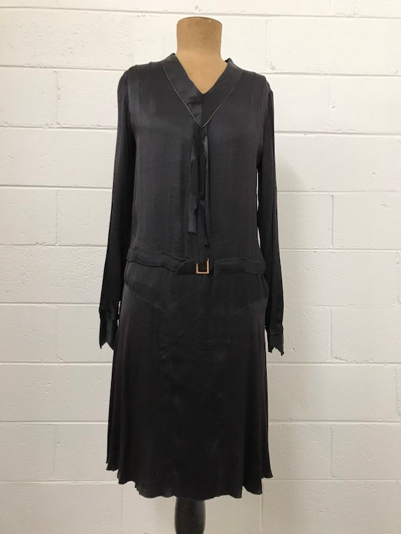 1920s Witchy Satin Day Dress