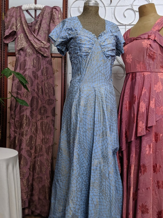 1940s Blue Mermaid Evening Gown