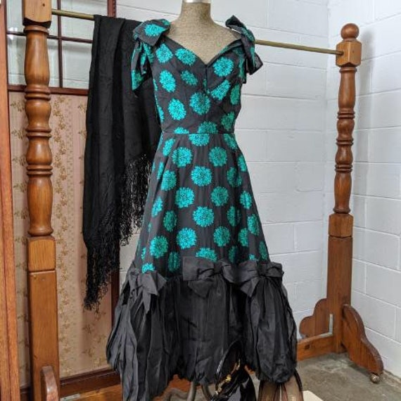 1950s Black & Green Cocktail dress