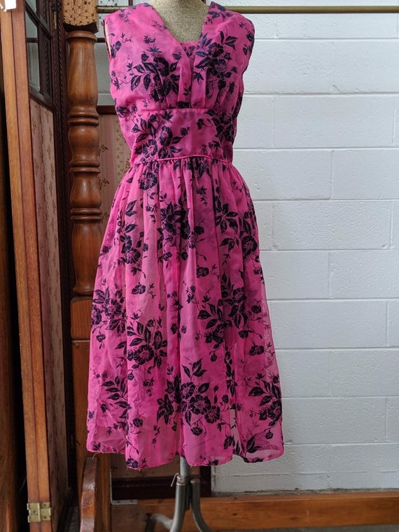 1950s Flocked Nylon Prom Dress