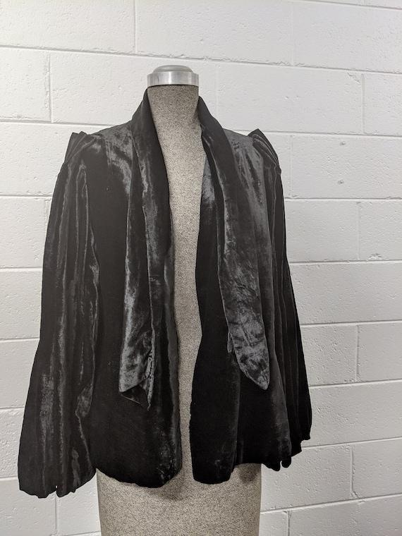 1930s Black Silk Velvet Evening Jacket