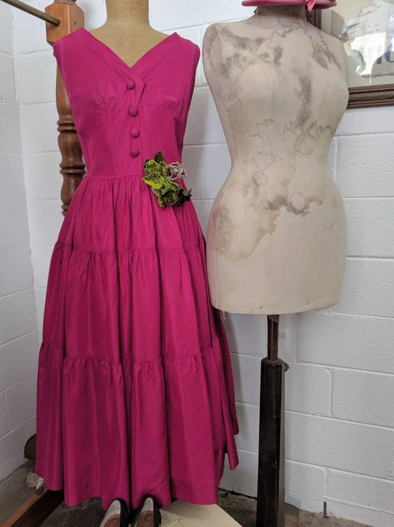 1940s Magenta Taffeta Cocktail Dress