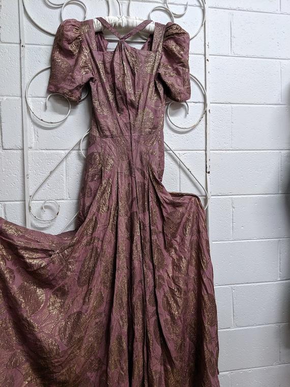 1930s Petite Mauve Lame Evening Gown