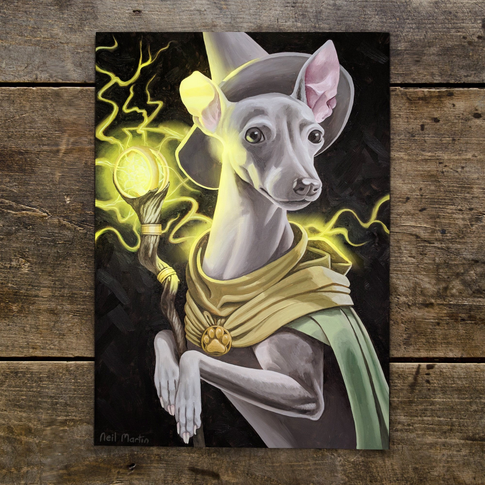 Sparky Wizard - A4 Print - Greyhound Whippet Dog Magic Mage Wizard Fantasy  Decor Wall Art