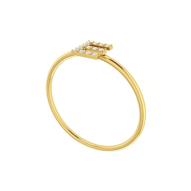 Fine Jewelry For Women Gold Ring Certified Natural Diamond Alphabet E Ring Diamond Ring Made in Solid Gold