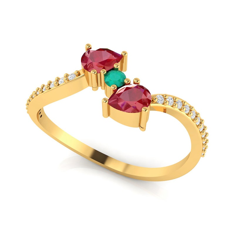 Certified Diamond Fine Ring Precious Wedding Jewelry Designer Engagement Jewelry Solid Gold Natural Emerald /& Ruby Gemstone Wrap Ring