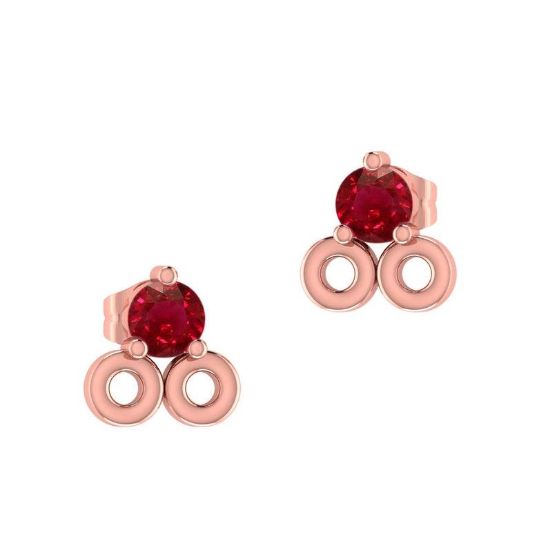 Fine Jewelry Stud Earrings Ruby Gemstone Gold Natural Ruby Stud Earrings Yellow Gold Studs Solid Gold Earrings