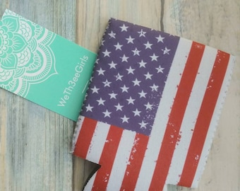 12 Patriotic SODA CAN COVERS flags USA stars POP BEER HOLDERS koozie July 4th
